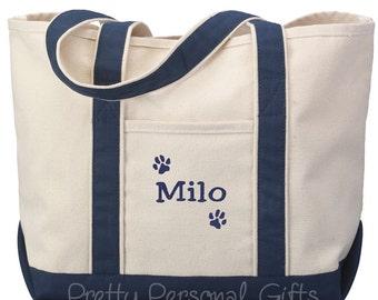 Dog Paw Tote Bag, Dog Tote Bag, Dog Paw Tote, Dog Bag with Name, Dog Travel Bag - 7 tote bag colors