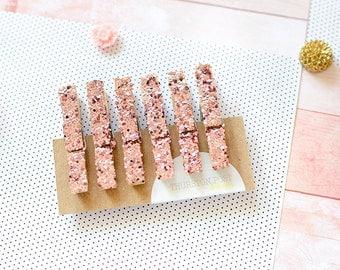 SALE! Glitter Clothespins, Mini Clothespins, Pink Glitter, Wedding Favors, Wedding Decor, Party Favors, Decorative Clothespins, Home Decor