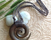 "Pendant, Necklace, ""Winsome"" Spiral Design, Adjustable Wax Cotton Rope, Natural, Organic, Tribal"