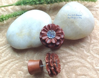 "Faux Gauges, Fake Plugs, ""Flowers"" Natural, Saba Wood, Paua Shell, Hand Carved, Tribal"