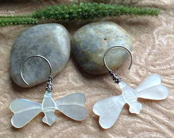 """Hanging Earrings, """"Dragonfly"""", Mother of Pearl, Sterling Silver Posts, Handcrafted"""
