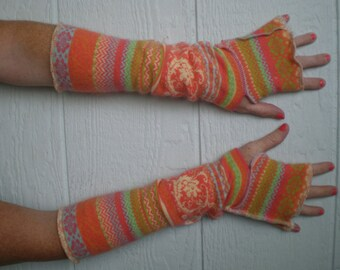 Fingerless gloves, armwarmers, handmade gloves, cotton and angora, 16 inch arm warmers, cute mitts, upcycled sweater