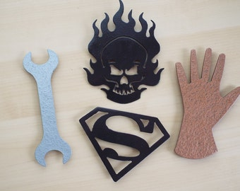 Plasma Cut Magnets – Superman, Skull, Wrench, Tools, Hand, Super Hero, Gift, Man Cave, Keepsake, Home Décor, Kitchen, Refrigerator, Steel