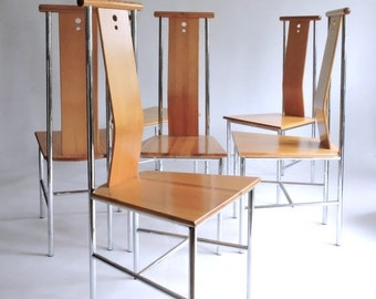 SHOP CLOSING SALE - Last Week - Suite of 6 Sculptural Side Chairs. 1990's Dining Chairs.