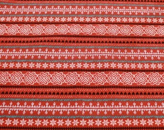 FABRIC-1/2 yd Holiday Fair Isle Red Cotton Fabric by the Yard - OOP-Quilt Fabric - Christmas Fabric - Home Decor Fabric - Craft Fabric