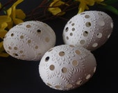 Set of 3 Traditional Slavic Carved and Wax-Embossed Chicken Eggs,  Pysanky Eggs, Kraslice in White, Madeira Eggs
