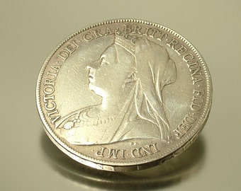Vintage/ antique, Queen Victoria, Victorian 1899 British sterling silver crown coin