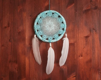 Dream Catcher - Turquoise Dream - Unique Dream Catcher with White Handmade Crochet Web and White Feathers