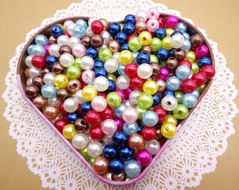 SALE--100pc 8mm Faux Pearl Beads, Mixed Colors Plastic Beads