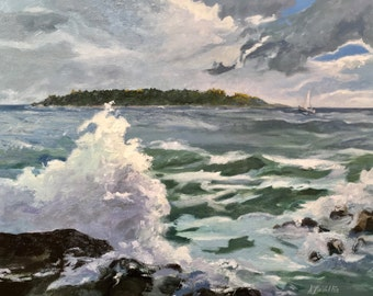 """Timber Island Kennebunkport, Maine Coastal Storm. Large, 24"""" X 30"""" original painting, oil on canvas, impasto, by Adrienne Kernan LaVallee"""