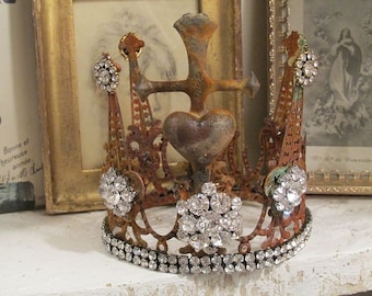Handmade statue crown rusty w/ rhinestones French Santos headdress ornate metal oxidized crowns for figures home decor anita spero design