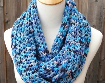 All Year Round Infinity Scarf - Multicolor Infinity Scarf - Blue, Pink and Black Scarf - Cotton Scarf - Circle Scarf - Ready to Ship