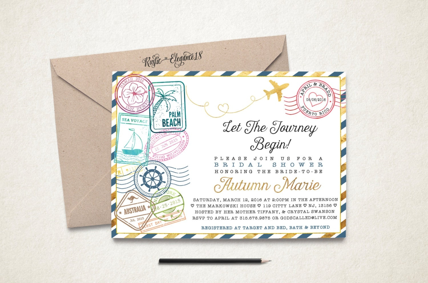 Wedding invite stamp Etsy
