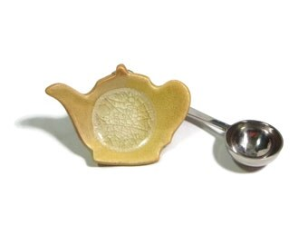 Butter Yellow Teapot Trivet with glass - Tea Trivet - Spoon optional - ring dish - spoon rest