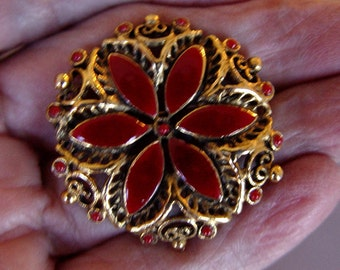 Red Floral Vintage Pin