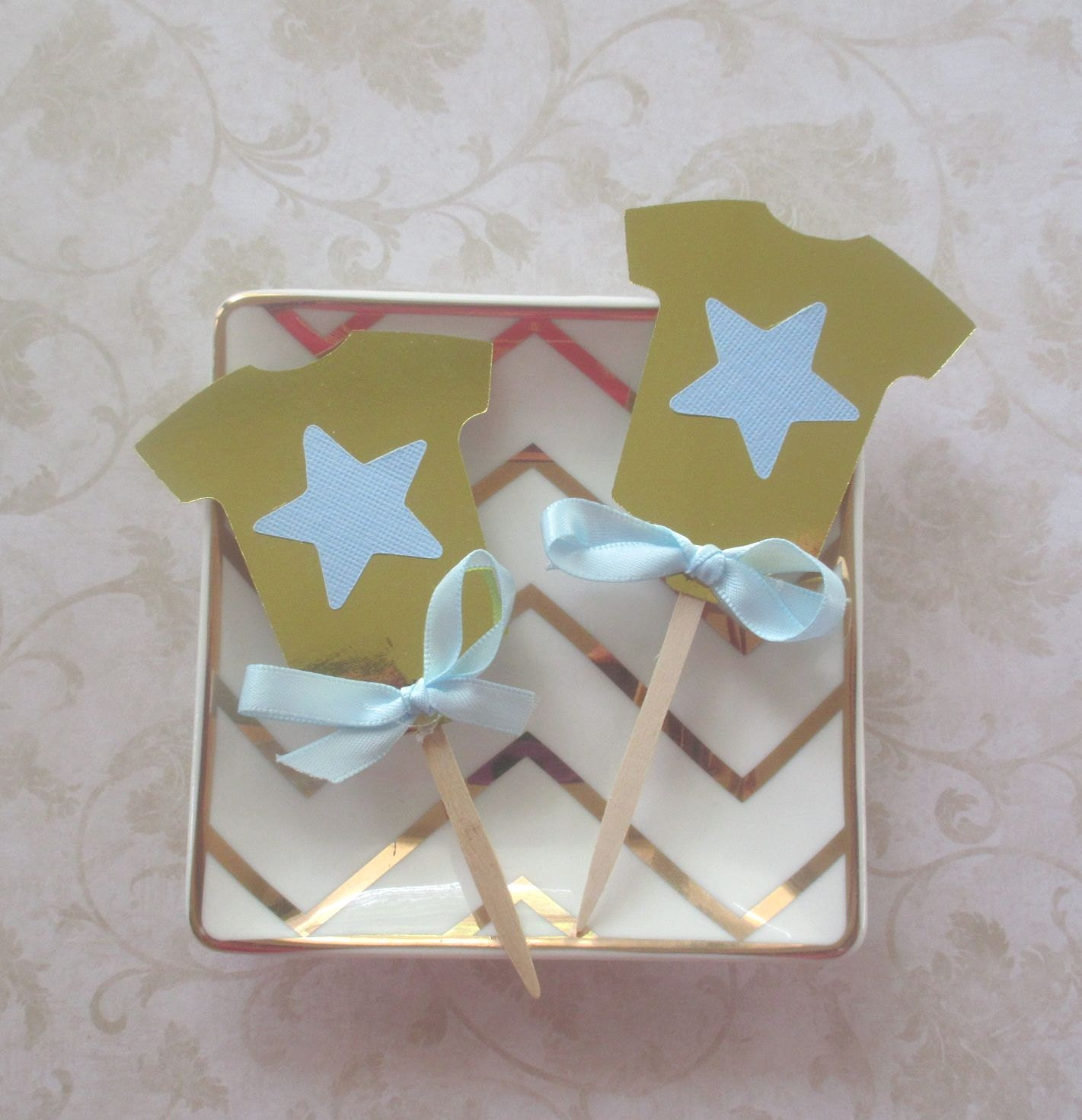 Cupcake toppers gold foil baby boy shower cupcake picks for Baby shower cupcake picks decoration