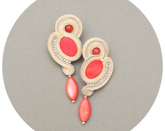 Coral earrings dangle clip on/ dangle stud earrings. Bridal jewelry, rustic wedding earrings coral soutache. Coral bead earrings clips/ stud