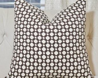 Schumacher - Betwixt Bear Pillow - Brown and Ivory Designer Pillow - Charcoal Ivory - Throw Pillow - Designer Pillow - Brown Home Decor