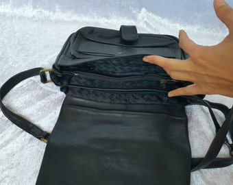 BLACK LEATHER SHOULDER Bag With Many Pockets  Vintage Black Leather Bag On Shoulder Black Womens Crossbody Bags