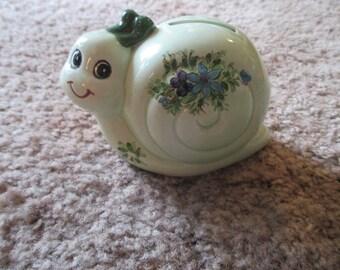Sweet Unmarked Vintage Snail Piggy Bank