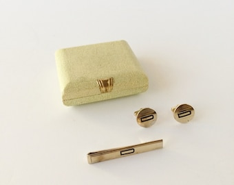 Vintage Art Deco Swank Cuff Links and Tie Clip in 1930s Original Box, Gold Finish Initial D Monogram, Vintage Men's Jewelry Accessories