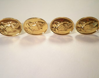 4 Goldplated Praying Hands Pins