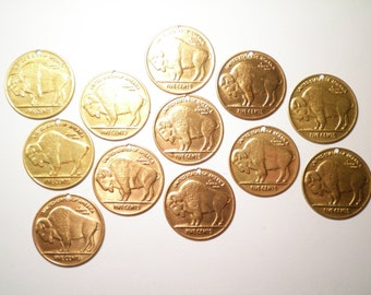 12 Vintage Brass Buffalo Nickel Charms