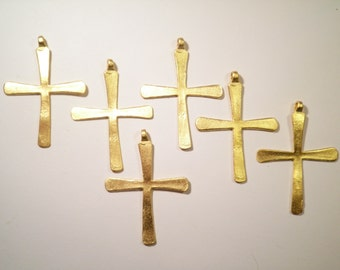 6 Gold Plated Crosses with Loop