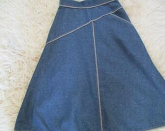 Vintage A line denim look midi skirt 60's mod hippie festival jean skirt