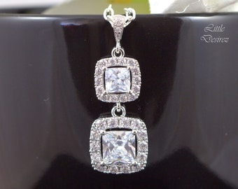Cubic Zirconia Jewelry Bridal Necklace Wedding Necklace Crystal Necklace Bridesmaid Gift Square Cut Victorian Necklace Vintage Inspired