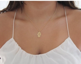 Mothers Day Sale - kabbalah necklace,hamsa necklace,gold filled necklace,simple necklace,everyday necklace,delicate necklace,charm necklace