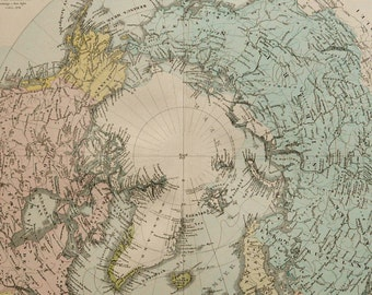 1880 Antique large map of the ARCTIC REGION. North Pole. 136 years old chart