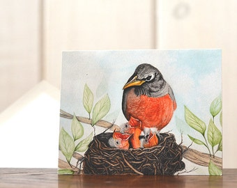 Robins Nest notecard, watercolor notecard, congratulations card, Mothers Day card, birds nest stationery, baby bird card, art reprint