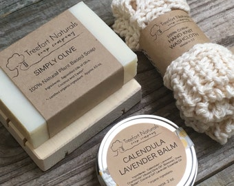 Baby Bath Gift Set - All natural organic baby soap, baby balm, cotton washcloth & wooden soap deck