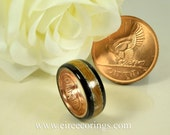 Wood wedding band ring with bog Oak and lucky Irish penny coin