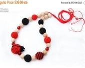 SALE 15% off Nursing Juniper necklace / Breastfeeding Teething necklace, Teething amigurumi toy Ladybug