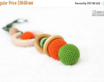 SALE 25% off Green and Orange Crochet Teething Toy/Wooden rattle with crochet wooden beads and wooden rings