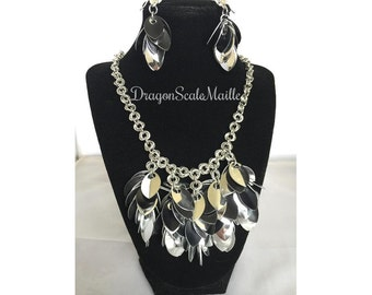 Shaggy Scales Scale Maille Chain Maille Silver and Black Necklace and Earring Set