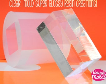 Parallelepiped 3d Clear Silicone mold-Transparent mold to make cardholder,home decoration,big modern soaps,size 30 mm x 60x60 mm