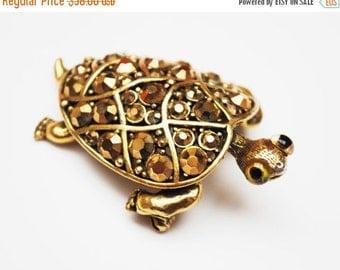 Turtle Brooch Hollycraft Gold Rhinestone designer signed pin