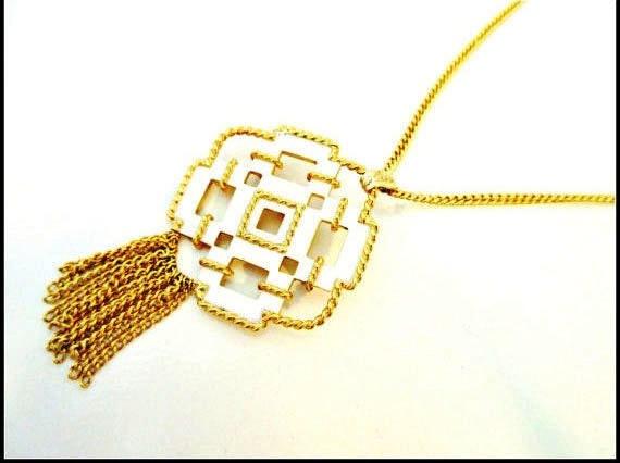 Avon Brooch Pendant Neckace - white enamel gold -  mid century modern -  tassels