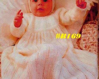A Best Vintage Exquisite Baby Christening Dress, Coat, Bonnet, Pixie Hat, Booties & Blanket 6-Piece Set #B169 PDF Digital Knit Pattern