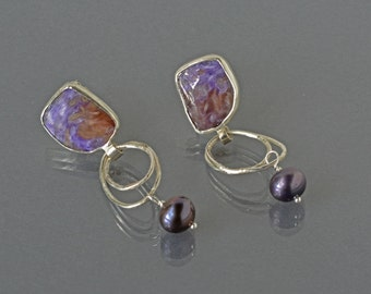 Charoite Drop Earrings with Hoops in Silver, Purple Gemstone Earrings, Statement Earrings with Stones, Gemstone Earrings