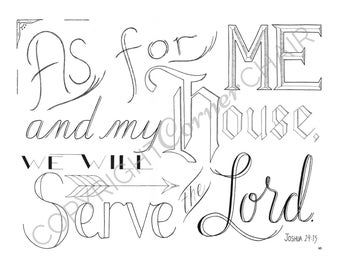 As For Me And My House, Embroidery Pattern, PDF Embroidery Pattern, Bible Verse Embroidery, Joshua 24:15, Embroidery PDF