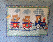 Quilt - Quilted Baby Blanket - Baby Quilt - Gender Neutral Baby Quilt for Boy or Girl - Baby Bear Train