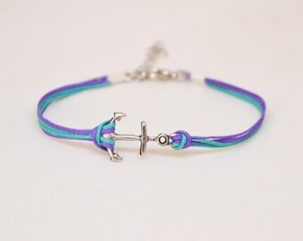 Anchor bracelet, multi color bracelet with a silver plated anchor charm, nautical jewelry, turquoise and purple. team colors bracelet, gift