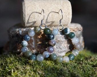 Fancy jasper hoop earrings