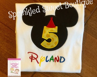Mickey Inspired Mouse Ears Fifth Birthday Applique Custom Monogram Shirt Boys Girls Perfect for a Disney World