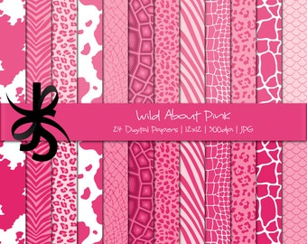 Digital Scrapbook Papers-Pink-Animal Print-Leopard Print-Cheetah-Pink Patterns-Backgrounds-Wallpaper-Printable-Instant Download Clip Art