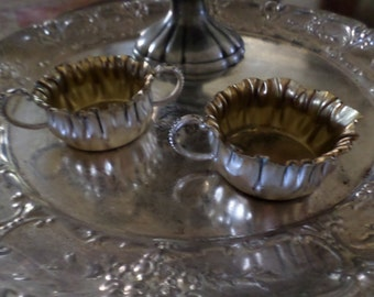 "Vintage Silverplate and 22K Gold Mini/Demi-Sugar Bowl & Creamer-3"" x 1"" Set"